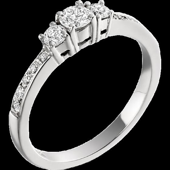 Inel de Logodna cu 3 Diamante Dama Aur Alb 18kt cu 3 Diamante Rotund Briliant si Diamante pe Margini-img1