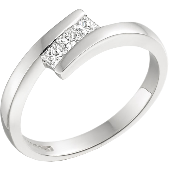 Three Stone Ring/Engagement Ring for women in 18ct white gold with 3 princess cut diamonds in tension setting-img1