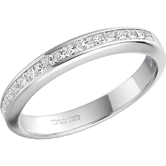 halb eternity ring ehering mit diamanten fuer dame in platin mit princess schliff diamanten in. Black Bedroom Furniture Sets. Home Design Ideas