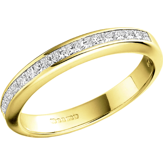 Half Eternity RingDiamond set wedding ring for women in 18ct yellow