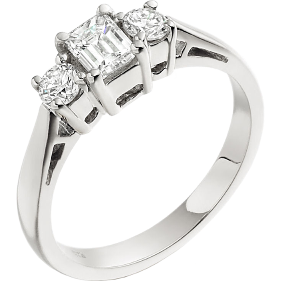 Three Stone Ring/Engagement Ring for women in platinum with and emerald cut centre and two round diamonds-img1