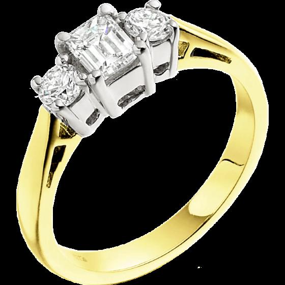 Inel de Logodna cu 3 Diamante Dama Aur Galben si Aur Alb 18kt cu un Diamant Forma Smarald si 2 Diamante Rotund Briliant-img1