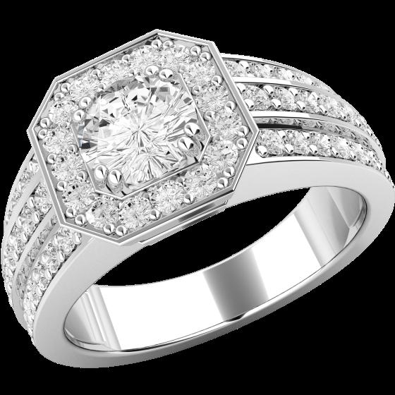 Inel Cocktail/ Inel de Logodna cu Diamante Dama Platina cu Diamant Central Rotund Briliant si Diamante Rotund Briliant in Jur in Oferta-img1