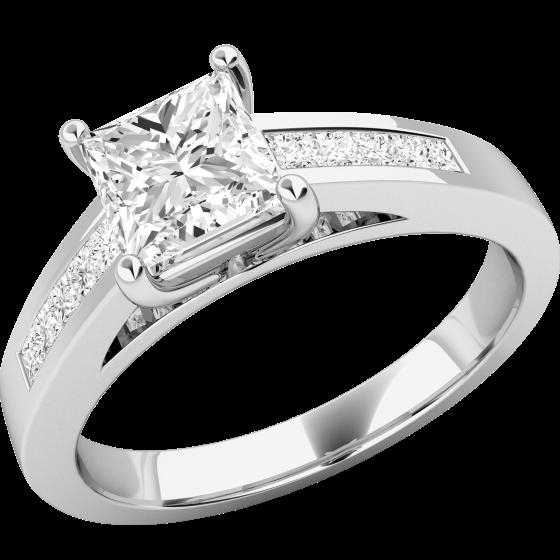 Inel de Logodna Solitaire cu Diamante Mici pe Lateral Dama Aur Alb 18kt cu Diamante Princess in Setare Gheare in Centru si Canal pe Margini-img1