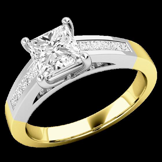 Cocktail Ring mit Diamanten für Dame in 18kt Gelbgold und Weißgold mit einem zentralen Princess Schliff Diamanten und Princess Schliff Diamanten auf den Schultern-img1
