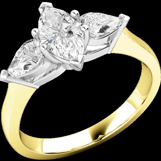 Drei-Steine Ring/Verlobungsring für Dame in 18kt Gelbgold und Weißgold mit einem Marquise Schliff Diamanten und 2 Tropfen Schliff Schulterdiamanten-img1