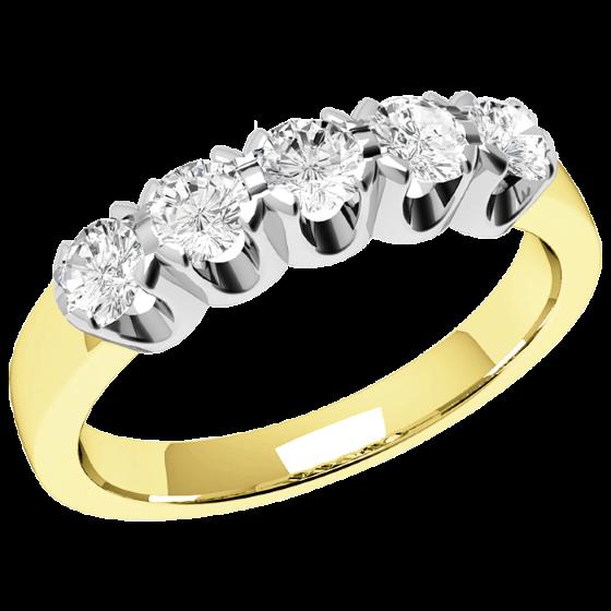 Halb Eternity Ring für Dame in 9kt Gelbgold und Weißgold mit 5 runden Brillant Schliff Diamanten-img1