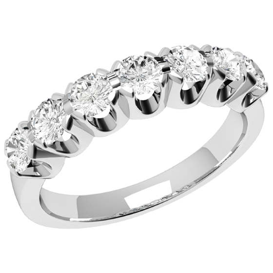 Inel Semi eternity Dama Platina cu 7 Diamante Rotund Briliant in Setare Gheare-img1
