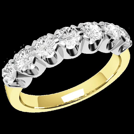 Halb Eternity Ring für Dame in 18kt Gelbgold und Weißgold mit 7 runden Brillant Schliff Diamanten-img1