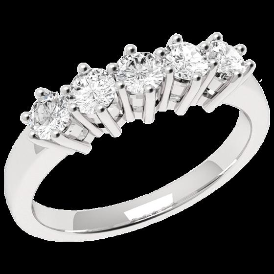 Inel Semi Eternity Dama Aur Alb, 18kt cu 5 Diamante Rotund Briliant in Setare Gheare-img1
