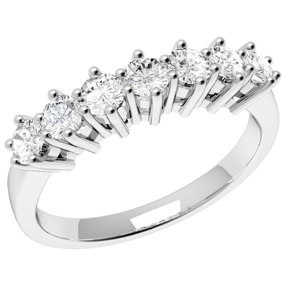 Inel Semi eternity Dama Platina cu 7 Diamante Rotund Briliant Setate cu Gheare-img1