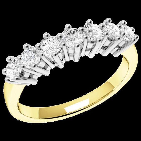 Halb Eternity Ring für Dame in 18kt Gelbgold und Weißgold mit 7 runden Brillantschliff Diamanten-img1