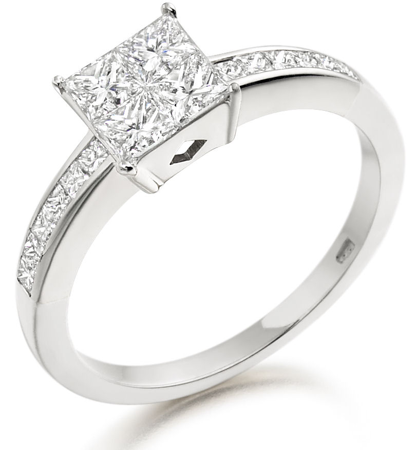 Multi Stone Engagement Ring For Women in 18ct White Gold with 4 Princess Cut