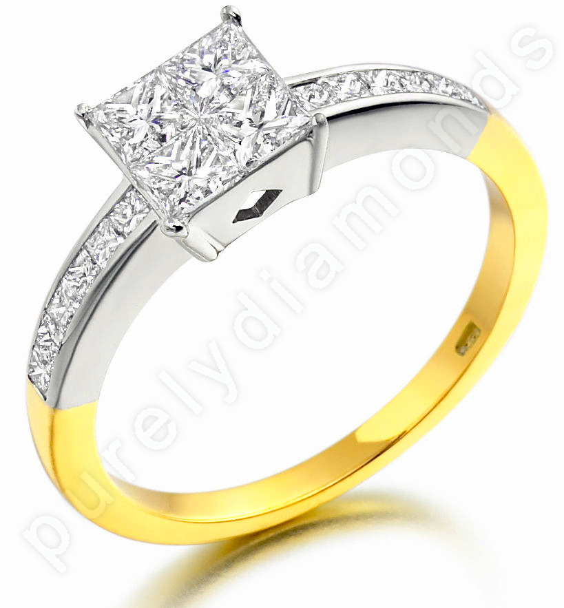 Inel de Logodna cu Mai Multe Diamante/Solitaire cu Diamante Mici pe Lateral Dama Aur Galben si Aur Alb 18kt cu 4 Diamante Princess in Setare Invizibila si Diamante Princess pe Margini-img1