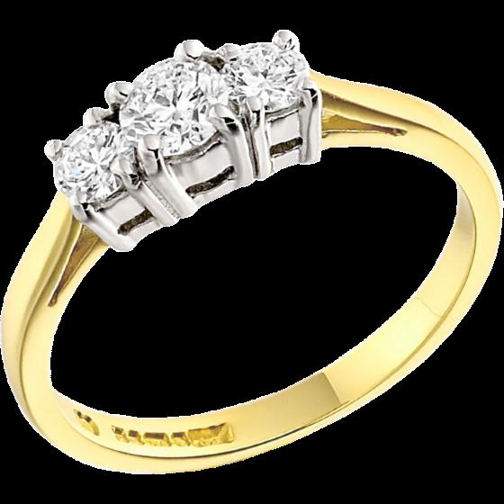 Inel de logodna/Inel cu 3 Diamante Dama Aur Galben si Aur Alb 18kt cu Diamante Rotund Briliant-img1