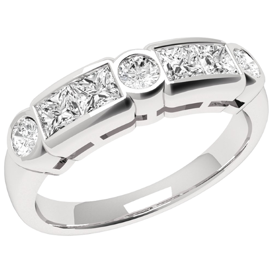 Inel Semi Eternity Dama Aur Alb, 18kt cu Diamante Princess & Rotunde-img1
