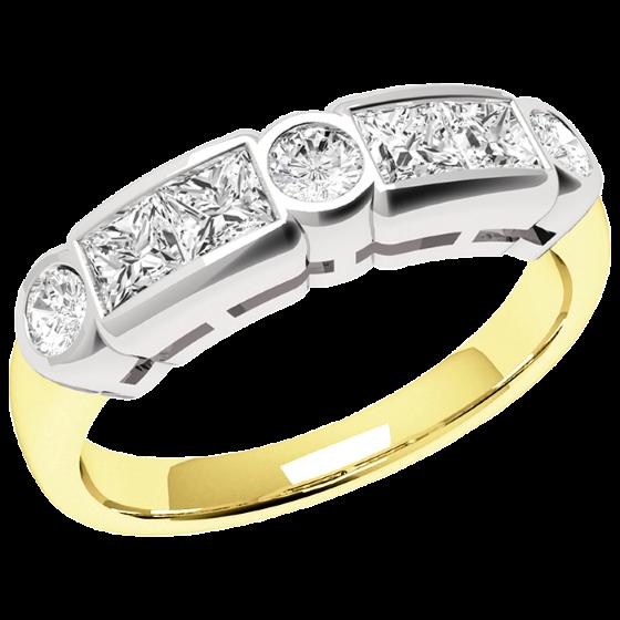 Halb Eternity Ring für Dame in 18kt Gelbgold Weißgold mit Princess und runden Diamanten-img1