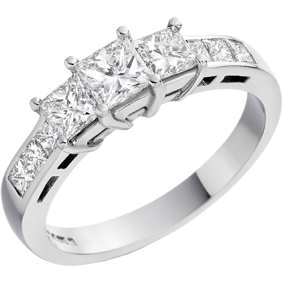 Three Stone Ring with Shoulders/Engagement Ring for women in platinum with three princess cut diamonds and princess shoulders-img1