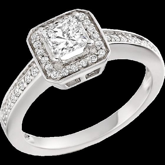 Inel de Logodna Solitaire cu Diamante Mici pe Lateral Dama Aur Alb 18kt cu Diamant Princess si Diamante Rotunde pe Margini Toate Setate cu Gheare-img1