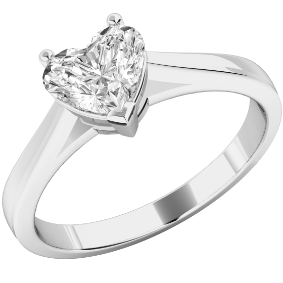 3bffe2a7626 Single Stone Engagement Ring for Women in Platinum with a Heart-Shaped  Diamond in a Claw Setting