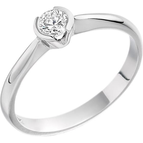 Inel de Logodna Solitaire Dama Aur Alb 18kt cu un Diamant Rotund Briliant in Setare Rub Over Partial-img1
