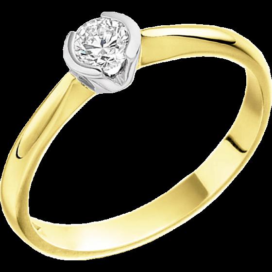 Solitär Verlobungsring für Dame in 18kt Gelbgold und Weißgold mit einem runden Brillanten in Semi-Zargenfassung-img1