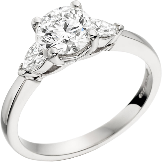 Single Stone Engagement Ring With Shoulders/Three Stone Ring for women in platinum with a round brilliant cut diamond and two pear diamonds-img1