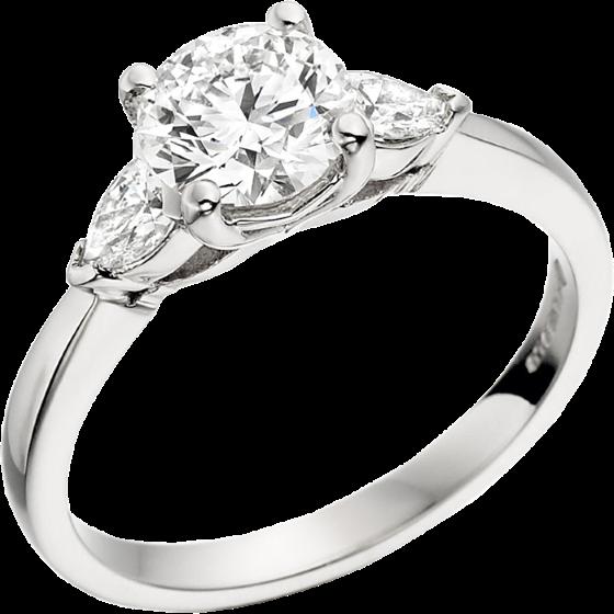 Drei-Steine Ring/Verlobungsring für Dame in 18kt Weißgold mit einem runden und 2 Tropfen Schliff Diamanten-img1