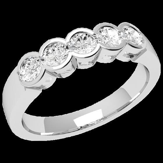 Halb Eternity Ring für Dame in 9kt Weißgold mit 5 runden Brillantschliff Diamanten-img1