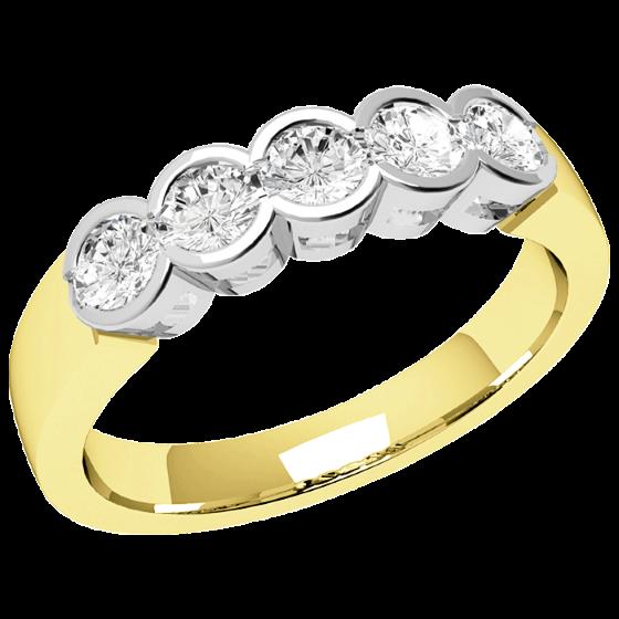 Halb Eternity Ring für Dame in 9kt Gelbgold und Weißgold mit 5 runden Brillantschliff Diamanten-img1