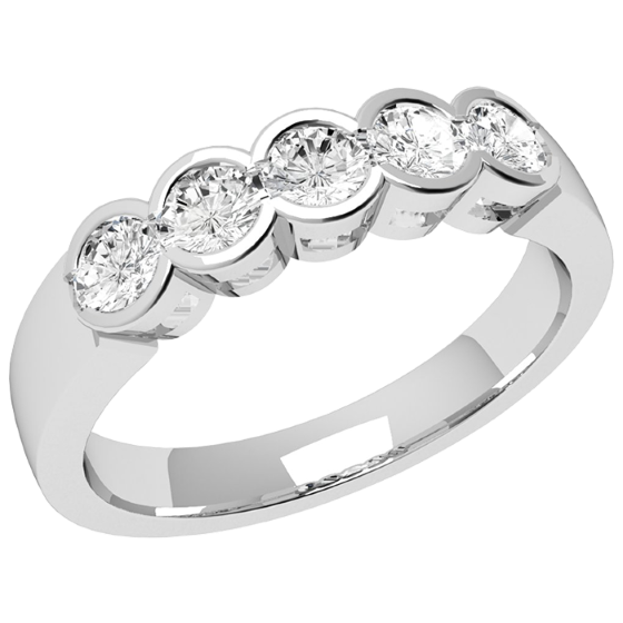 Inel Semi Eternity Dama Aur Alb, 18kt cu 5 Diamante Rotund Briliant in Setare Rub-Over-img1