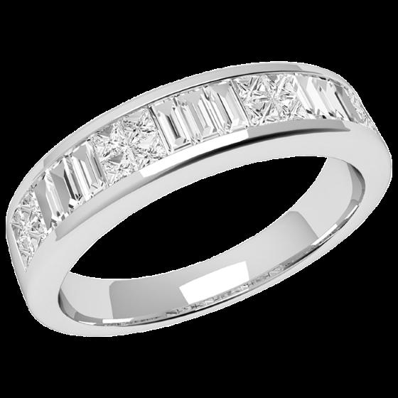 Inel Semi Eternity/Verigheta cu Diamant Dama Aur Alb 18kt cu 9 Diamante Forma Bagheta si 16 Diamante Princess-img1