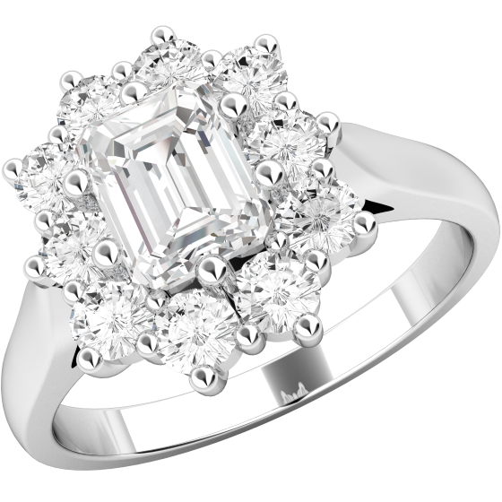 Inel Cocktail/Inel de Logodna cu Diamante Dama Platina cu un Diamant Forma Smarald si Diamante Rotunde Briliant Setate cu Gheare-img1