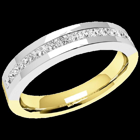 Halb Eternity Ring für Dame in 18kt Gelbgold und Weißgold mit 16 Princess Schliff Diamanten-img1