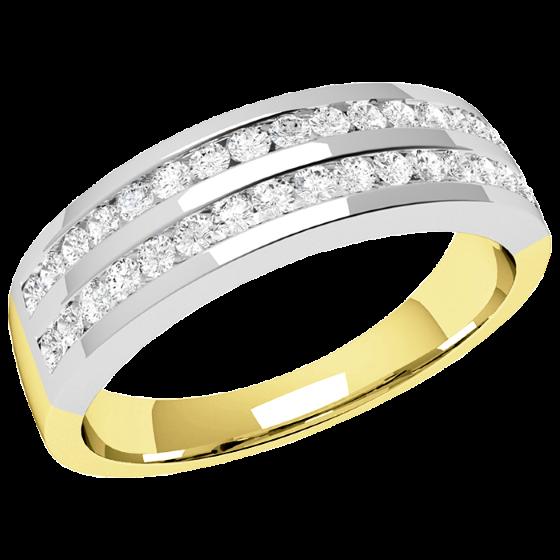 Halb Eternity Ring für Dame in 18kt Gelbgold und Weißgold mit runden Brillanten in 2 Reihen-img1