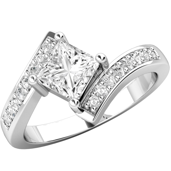 Single Stone Engagement Ring With Shoulders for Women in Platinum with a Princess Cut Centre and Round Brilliant Cut Diamonds on a Twist-img1