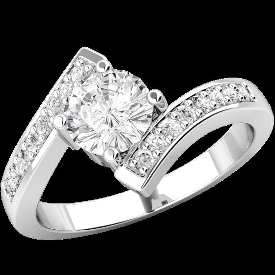 Solitär Verlobungsring mit Schultern für Dame in 18kt Weißgold mit einem zentralen runden Brillanten und Brillanten auf den Schultern-img1