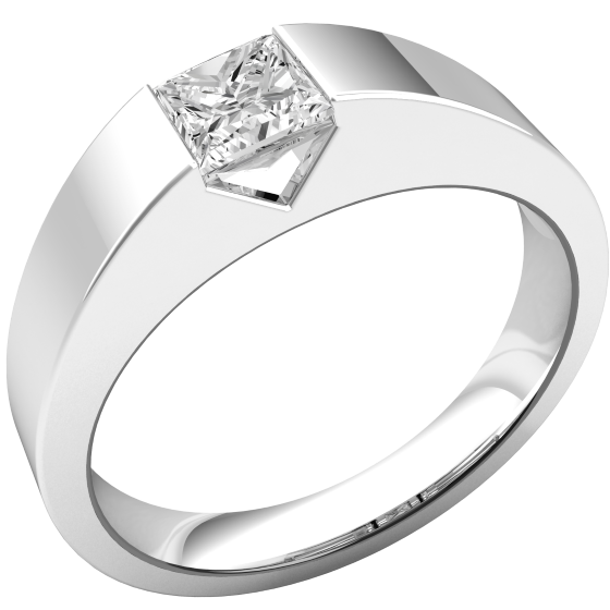 Single Stone Engagement Ring for Women in Platinum with a Princess Cut Diamond in a Tension-Setting-img1