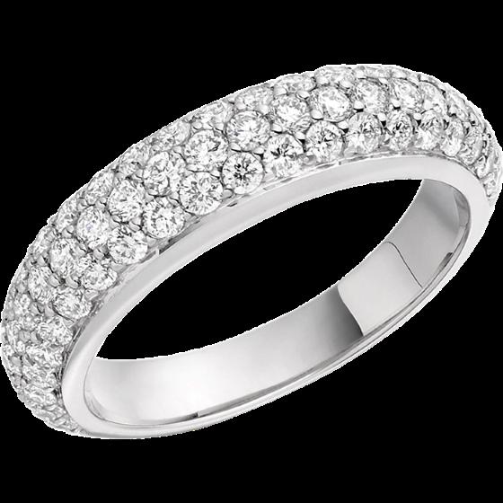 Inel Cocktail cu Diamante Dama Aur Alb 18kt cu 64 Diamante Rotund Briliant in Setare Pavata-img1