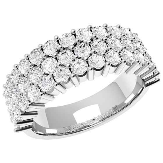 Inel Semi Eternity Dama Aur Alb, 18kt cu 43 Diamante Rotund Briliant in Setare Gheare-img1