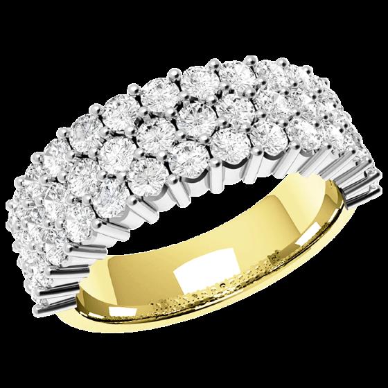 Halb Eternity Ring/Cocktail Ring mit Diamanten für Dame in 18kt Gelbgold und Weißgold mit 43 runden Brillanten in Krappenfassung-img1