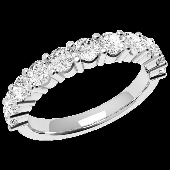 Halb Eternity Ring für Dame in 9kt Weißgold mit 11 runden Brillant Schliff Diamanten in Krappenfassung-img1