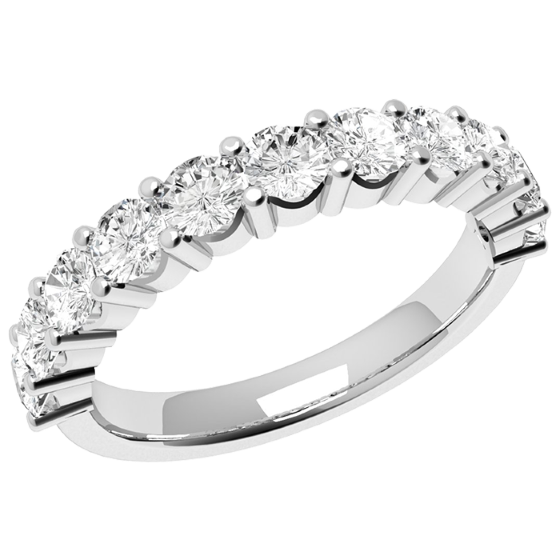 Inel Semi Eternity Dama Aur Alb, 18kt cu 11 Diamante Rotund Briliant in Setare Gheare-img1