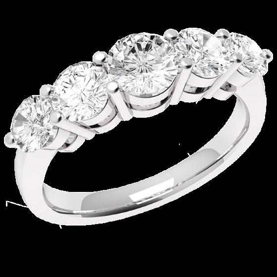 Halb Eternity Ring für Dame in 18kt Weißgold mit 5 runden Diamanten mit aufsteigender Größe in Krappenfassung-img1