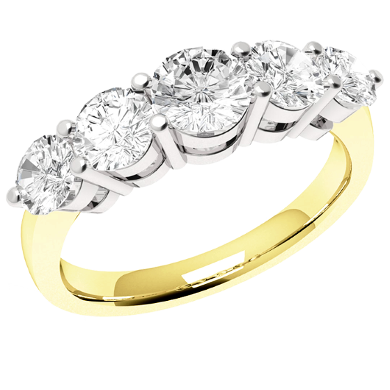 Halb Eternity Ring für Dame in 18kt Gelbgold mit 5 runden Diamanten mit aufsteigender Größe in Krappenfassung-img1
