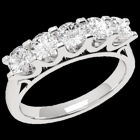 Halb Eternity Ring für Dame in Platin mit 5 runden Diamanten in U-förmiger 4er Krappenfassung-img1