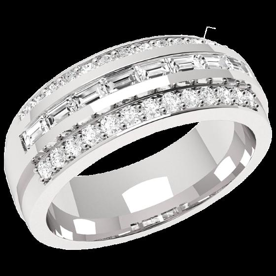 Halb Eternity Ring/Cocktail Ring mit Diamanten für Dame in 18kt Weißgold mit 8 Baguette Diamanten und 26 kleinen runden Diamanten-img1