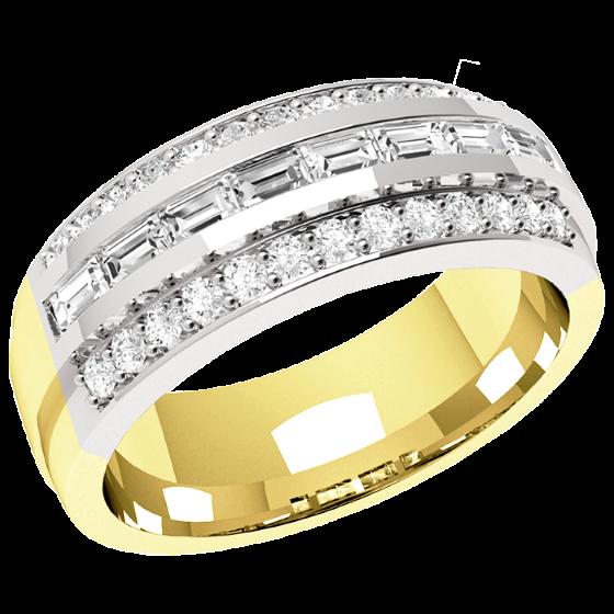 Halb Eternity Ring/Cocktail Ring mit Diamanten für Dame in 18kt Gelbgold und Weißgold mit 8 Baguette Diamanten und 26 kleinen runden Diamanten-img1