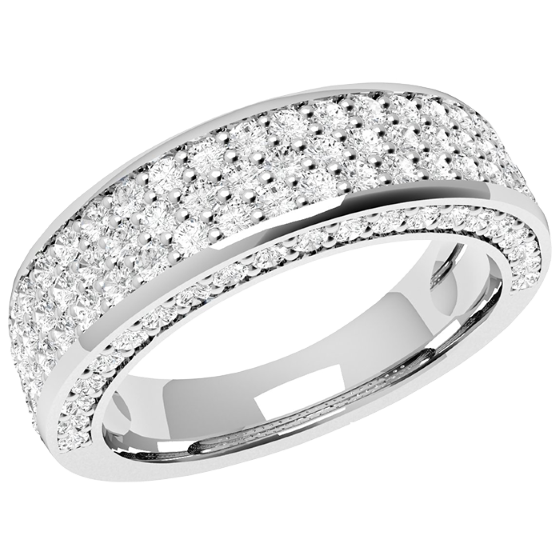 Inel Semi Eternity Dama Aur Alb 18kt cu 107 Diamante Rotund Briliant-img1