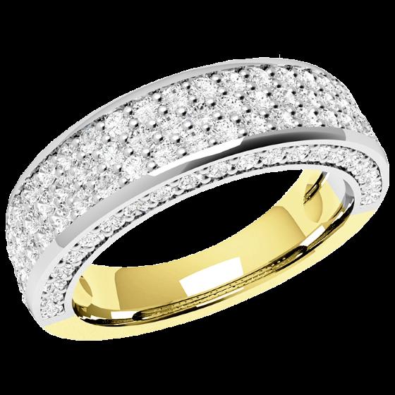 Halb Eternity Ring/Cocktail Ring mit Diamanten für Dame in 18kt Gelbgold und Weißgold mit 107 runden Brillantschliff Diamanten-img1